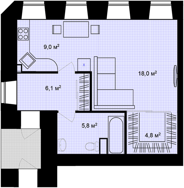 Планировка Однокомнатная квартира площадью 43.7 кв.м в ЖК «Адмирал»