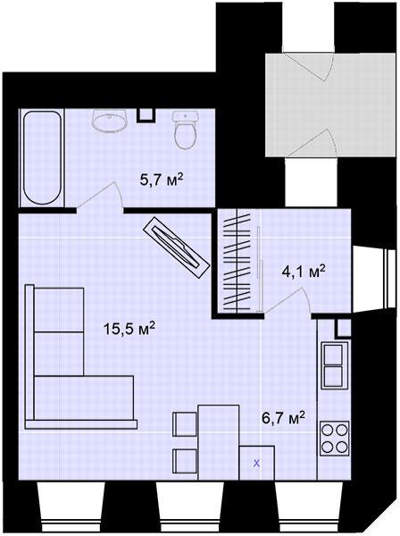 Планировка Однокомнатная квартира площадью 32 кв.м в ЖК «Адмирал»