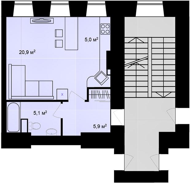 Планировка Однокомнатная квартира площадью 36.9 кв.м в ЖК «Адмирал»