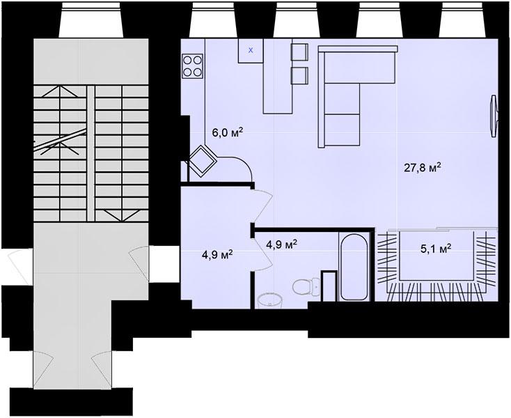 Планировка Однокомнатная квартира площадью 48.7 кв.м в ЖК «Адмирал»