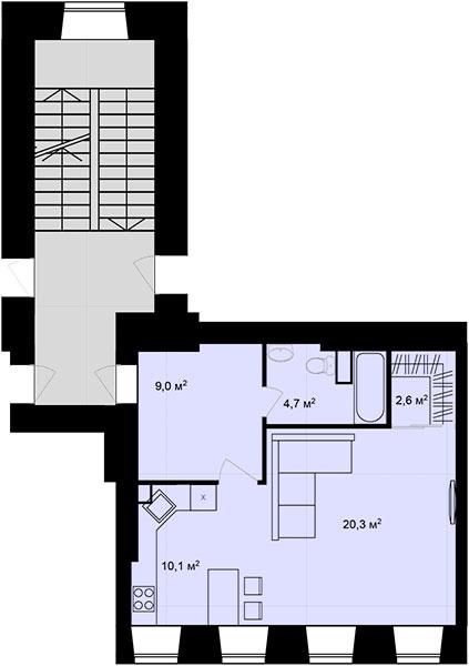 Планировка Однокомнатная квартира площадью 46.7 кв.м в ЖК «Адмирал»