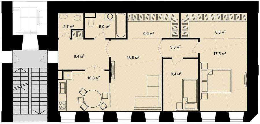 Планировка Трёхкомнатная квартира площадью 90.5 кв.м в ЖК «Адмирал»