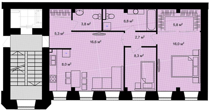 Планировка Трёхкомнатная квартира площадью 73.3 кв.м в ЖК «Адмирал»