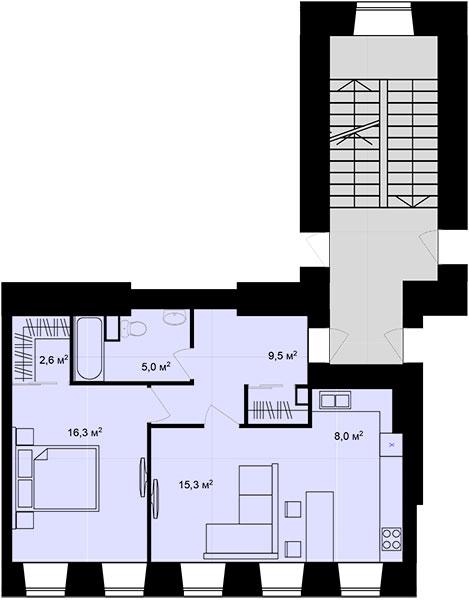 Планировка Двухкомнатная квартира площадью 56.7 кв.м в ЖК «Адмирал»
