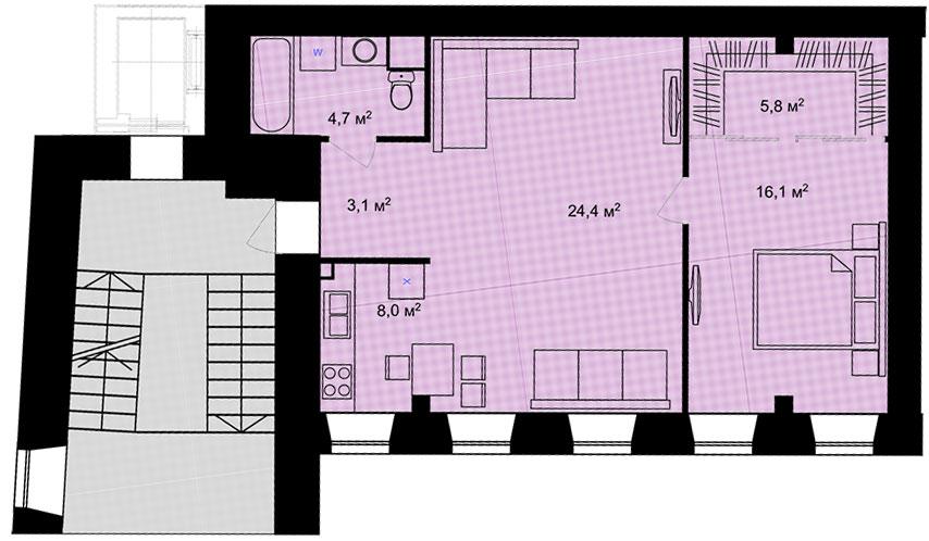 Планировка Двухкомнатная квартира площадью 62.1 кв.м в ЖК «Адмирал»